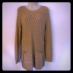 Jeanne Pierre long tan braided sweater w pockets L